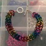 Rainbow & Black Chainmaille Bracele..