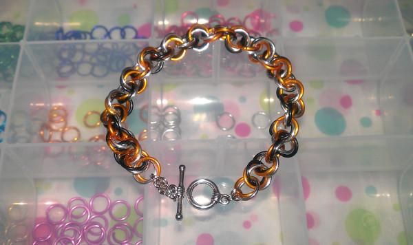 Chainmaille Bracelet Black Silver Orange