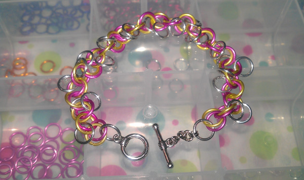 Chainmaille Bracelet Yellow Pink Silver