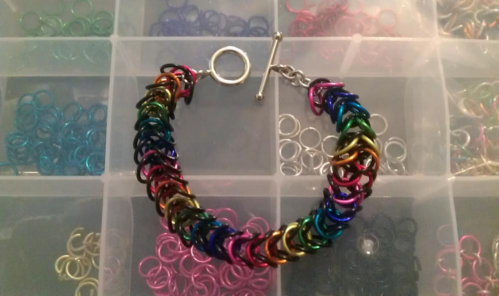 Rainbow & Black Chainmaille Bracelet made in a box pattern