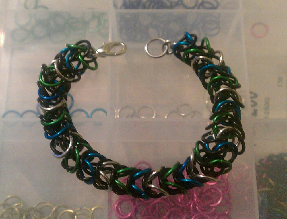Green, Turquoise, Silver, and Black Chainmaille Bracelet made in a box pattern
