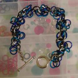 Chainmaille Bracelet Blue Purple Silver Black