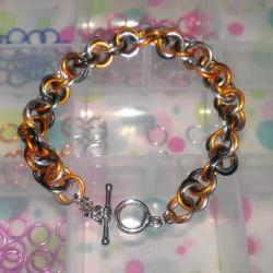 Chainmaille Bracelet Black Silver Orange